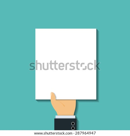 Man in a suit holding a blank sheet. Flat graphics. The tax return. Stock image. - stock photo
