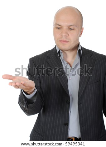 man in a suit holds her hand, palm up. Isolated on white background - stock photo