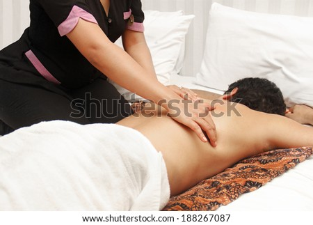 man in an massage therapy - stock photo