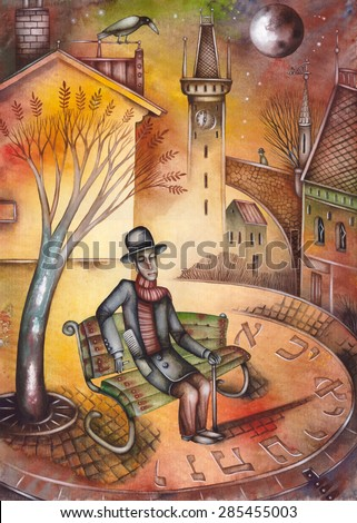 Man in bench - stock photo