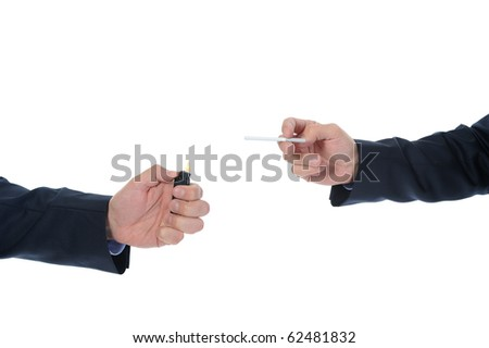 man in black suit holding a cigarette. Isolated on white background - stock photo