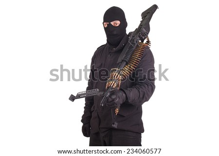 man in black uniform with machine gun isolated on white - stock photo