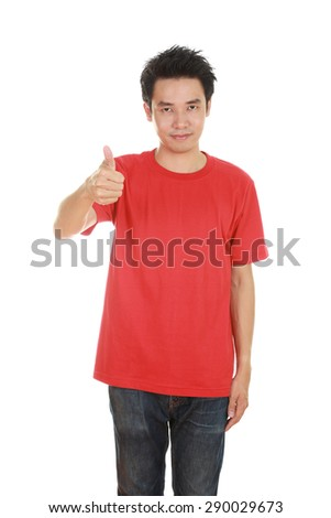man in blank red t-shirt with thumbs up isolated on white background - stock photo