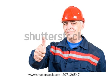 man in boilersuit and hardhat show gesture cool. isolated on white background - stock photo