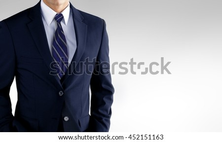 Man in business suit over white - stock photo