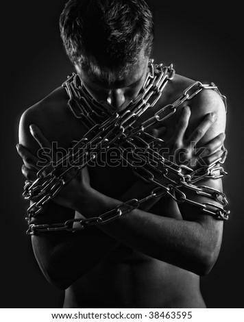 Man in captivity - stock photo