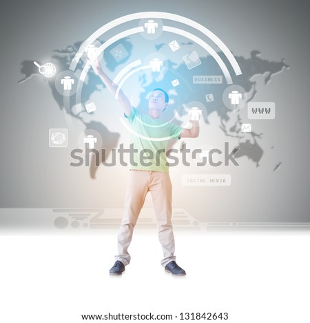 Man In Cyberspace - stock photo