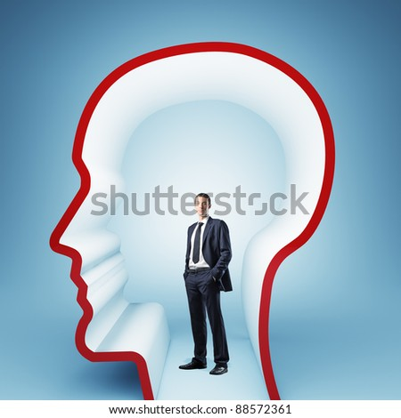 man in 3d empty head - stock photo