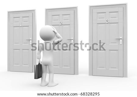 Man in front of three doors, doubtful - stock photo