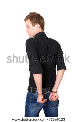 Man in handcuffs isolated on white background - stock photo