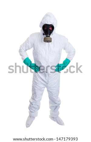 Man in hazmat suit shot on white background. - stock photo