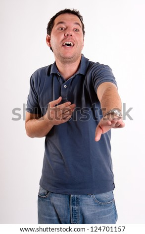 Man in his 30s dressed in casual clothes - stock photo