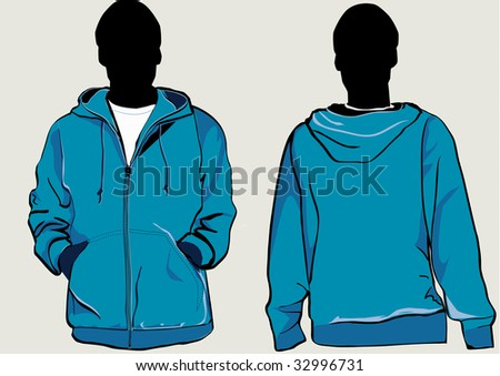 Man in hooded sweatshirt with zipper in front and back - stock photo