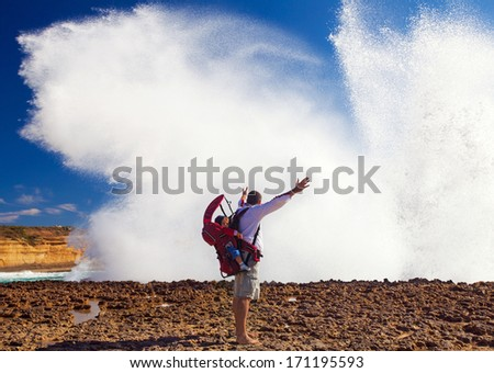 Man in Loch Ard Gorge, Great Ocean Road,Australia - stock photo