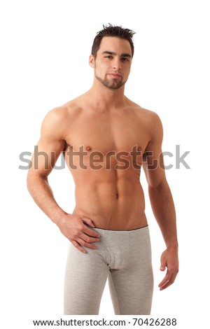 Man in Long Underwear - stock photo