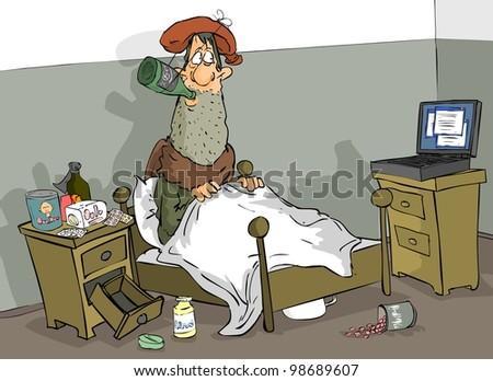 Man in many ways treating sore throat - stock photo