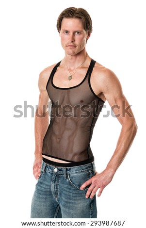 Man in mesh tank top and jeans. Studio shot over white. - stock photo