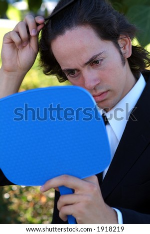 man in mirror - stock photo