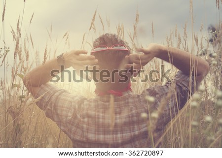 Man in nature. - stock photo