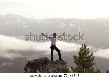 man in nature - stock photo