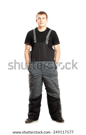 Man in overalls isolated on white background - stock photo