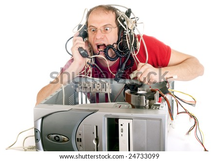 man in panic with his computer trying to reach technical support - stock photo