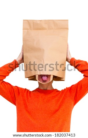 Man with Paper Bag On Head