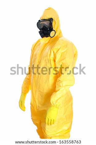 Man in protective hazmat suit. Isolated on white. - stock photo