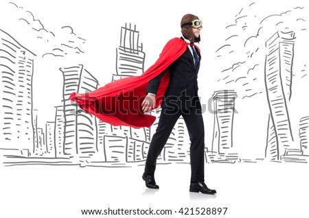 Man in red cover with skyscapers at the background - stock photo