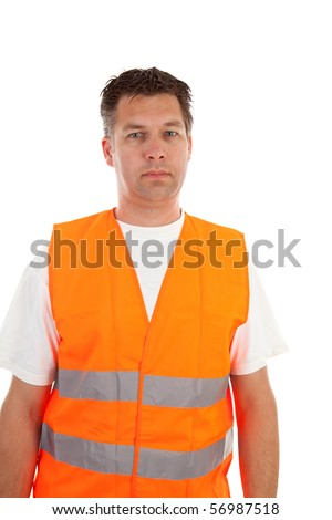 man in safety vest over white background - stock photo