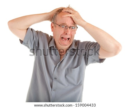 Man in Shock Just Got Very Bad News - stock photo