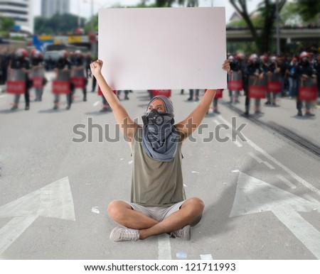 man in street protest - stock photo