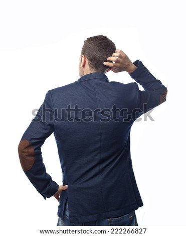 Man in suit back doubt - stock photo