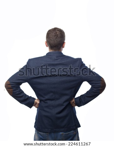Man in suit back looking at something - stock photo