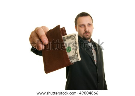 man in suit holding wallet - stock photo