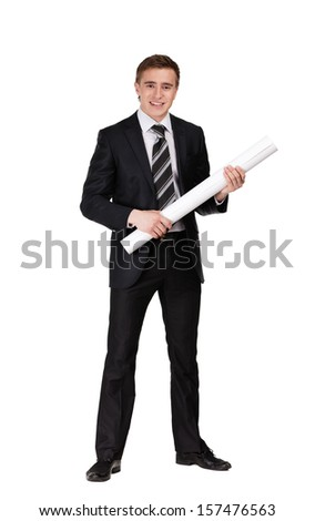 Man in suit keeping blueprint, isolated on white - stock photo