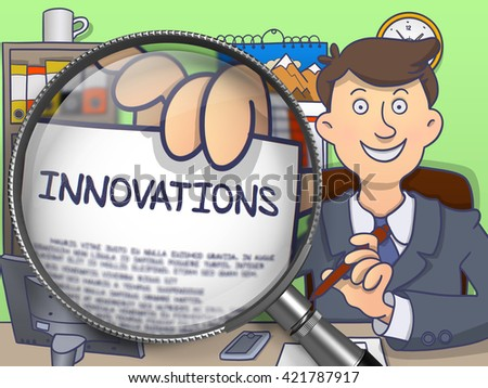 Man in Suit Looking at Camera and Showing a Concept on Paper Innovations Concept through Magnifier. Closeup View. Multicolor Doodle Style Illustration. - stock photo