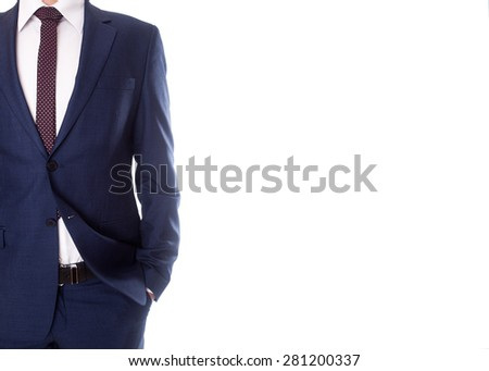 man in suit on white background - stock photo