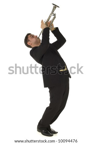 Man in suit standing and trumpet melody. Side view. Isolated on white background. - stock photo