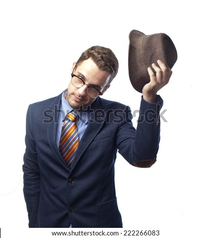 man in suit with courtesy and good manners - stock photo