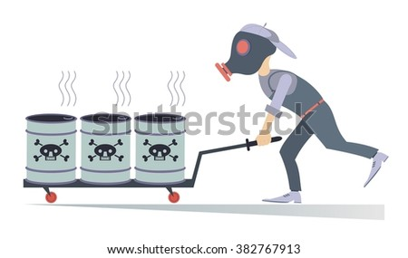 Man in the gas mask carrying barrels with toxic substance - stock photo
