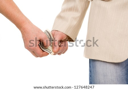 man in the suit gently takes a bribe isolated on white background - stock photo