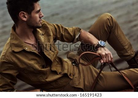 Man in the wild - stock photo