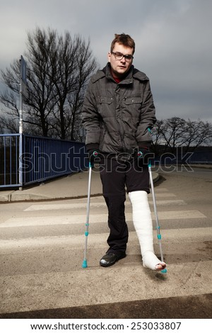 Man in troubles with gypsum - stock photo