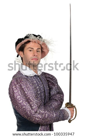 Man in TudorCostume - stock photo