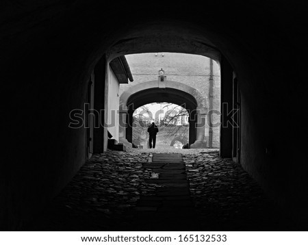 man in tunnel - stock photo