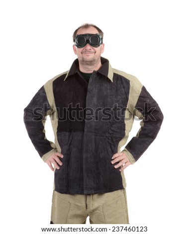 Man in uniform and face mask. Isolated on a white background.  - stock photo