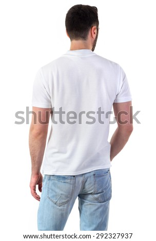 Man in white polo mock-up isolated on white - stock photo
