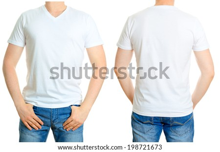 Man in white t-shirt. Isolated on white background. - stock photo
