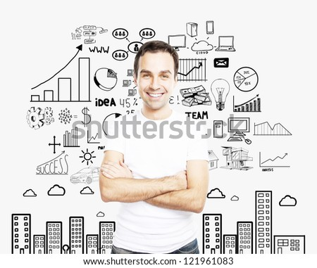 man in white tshirt and business concept background - stock photo